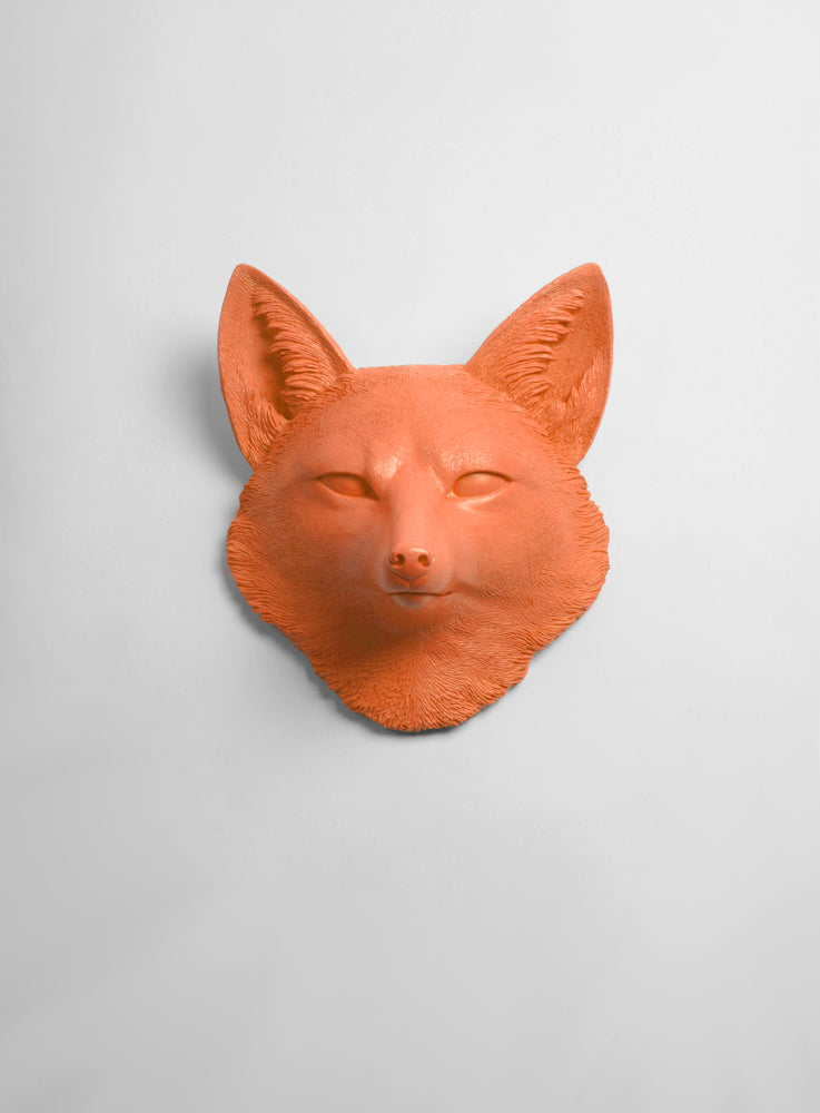 The Sylvester in Tangerine Orange, Faux Taxidermy Fox Decor Head
