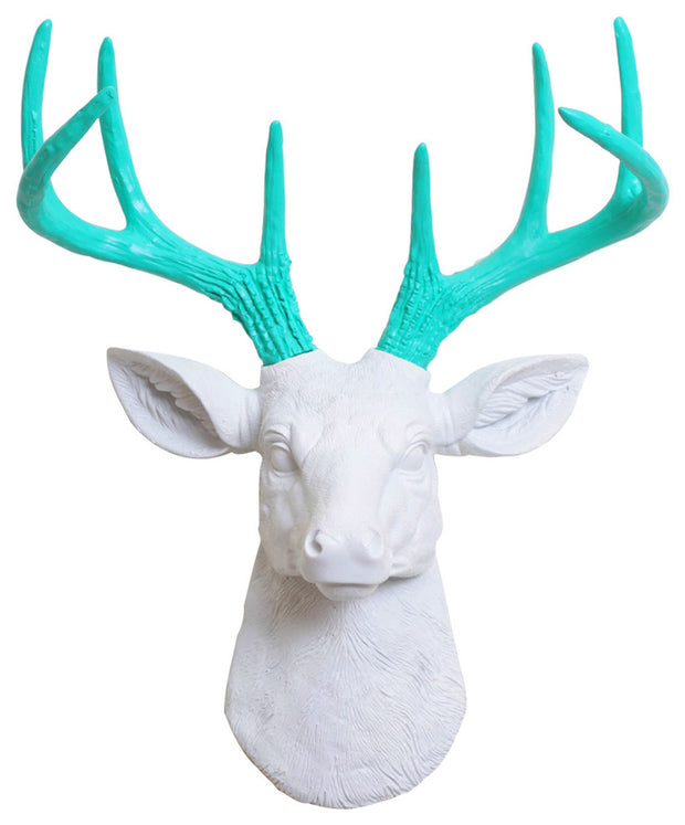 mini white resin deer head sculpture & turquoise antler decor wall hanging