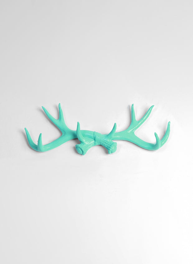 Seafoam Green Resin Fake Deer Antlers Wall Hanging Hook. Decoration Only.