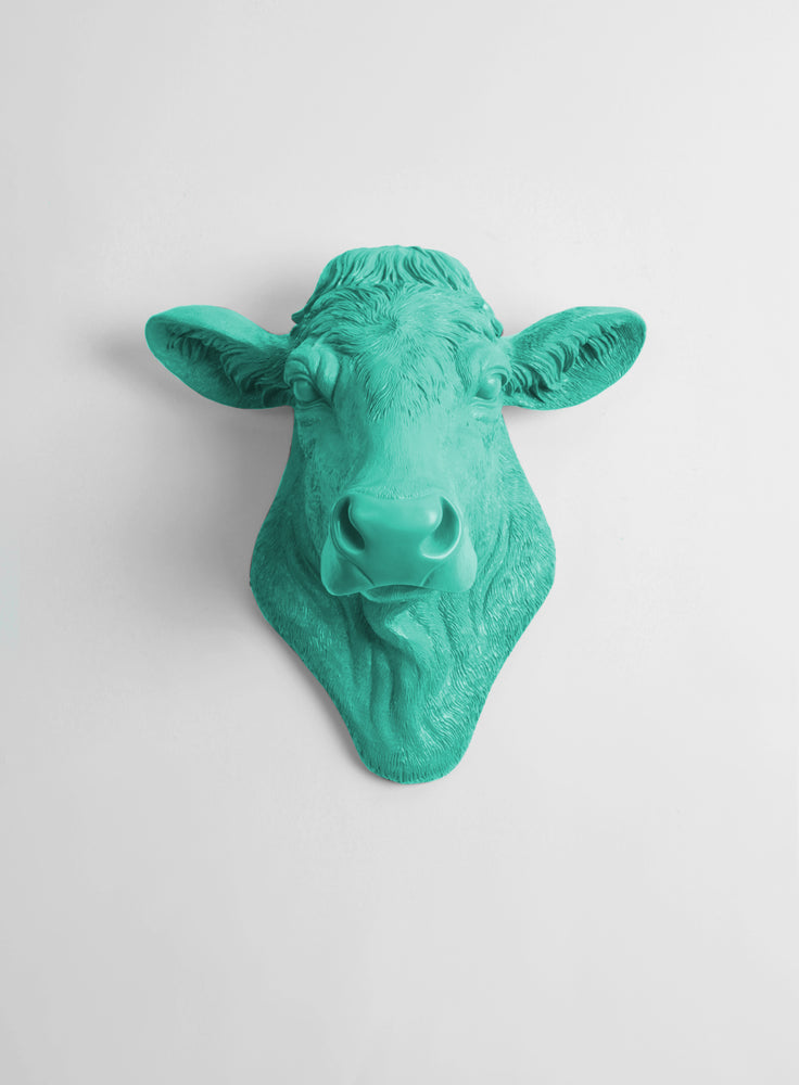 The Bessie in Turquoise, Cow Head Wall Decor