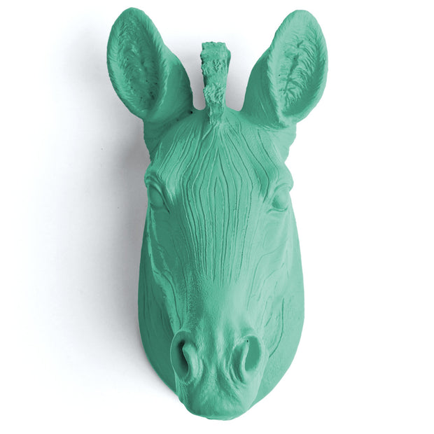 The Myra in Turquoise - Mini Zebra Head | Modern African Safari Decor