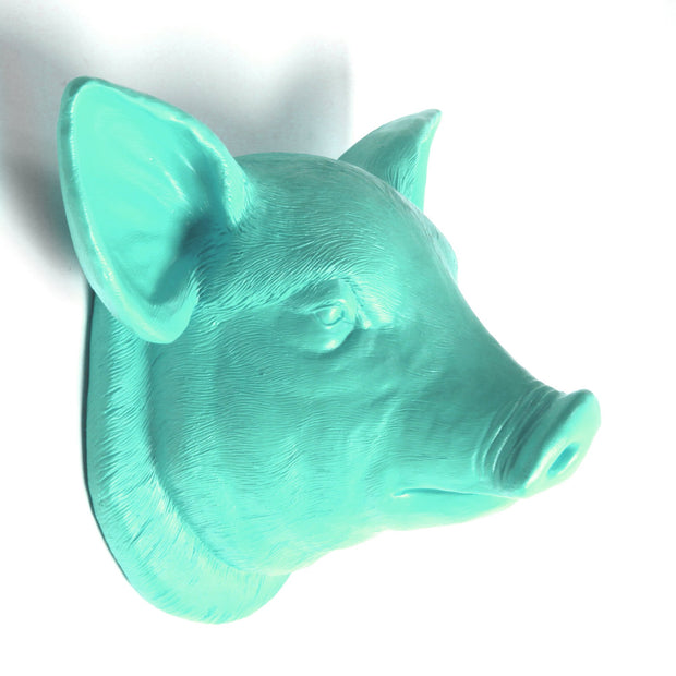 The Hamlet in Turquoise | Modern Farmhouse Home Decor, Faux Pig Head Wall Mount