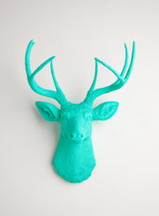 Turquoise wall decor deer, The Penelope. turquoise faux stag head wall mount