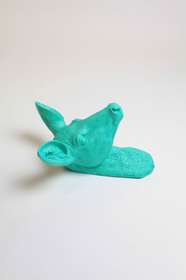 The Ophelia in Turquoise, Faux Doe Deer Head Wall Mount
