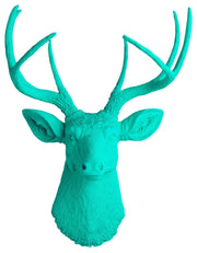turquoise faux stag head wall mount