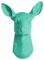 Turquoise Resin faux doe deer head without antlers wall sculpture by White Faux Taxidermy