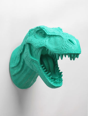 The Crowley | T Rex Head Wall Mount | Faux Taxidermy | Turquoise Resin Dinosaur