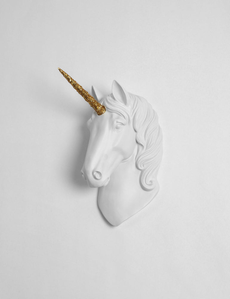The Xenia in White with Gold Glitter Horn, faux taxidermy unicorn head wall mount
