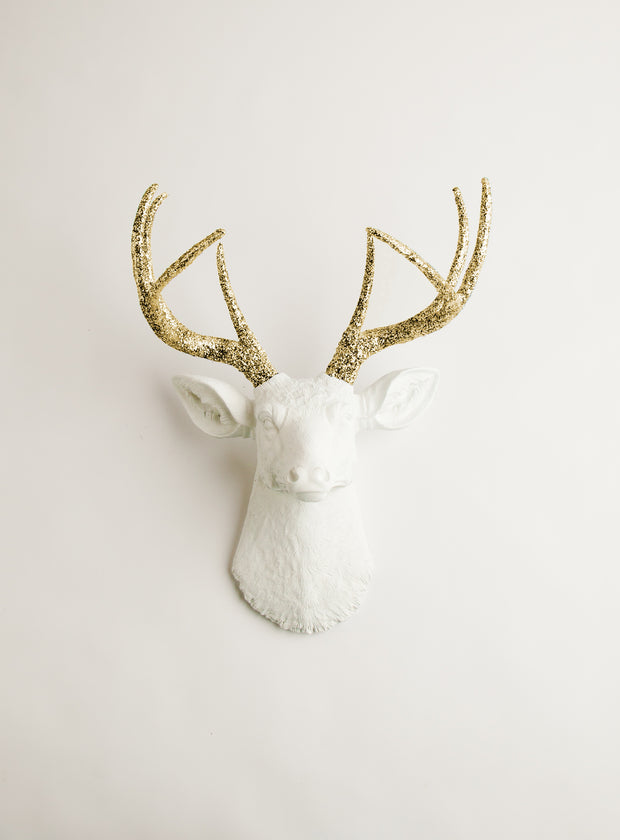 gold glitter faux deer antlers, white faux deer head wall mount