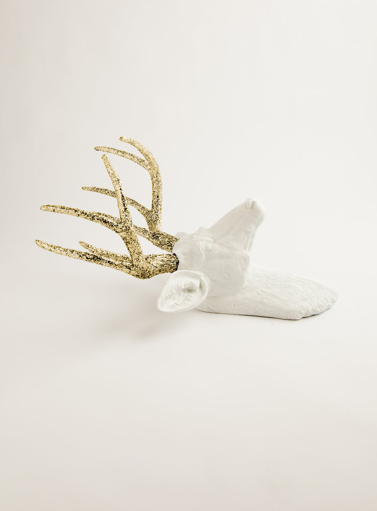 The Winston | Stag Deer Head | Faux Taxidermy | White Resin w/Gold Glitter Antlers