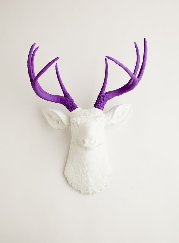 White faux deer head with lavender-purple antlers