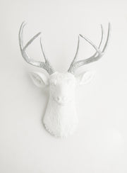 "white & silver wall decor, The Frankfurt deer head. ~1/2"" shorter than Wall Charmers (TM) Virginia Deer. Not Affiliated.aluminum-colored resin deer antlers, white faux deer head wall mount"
