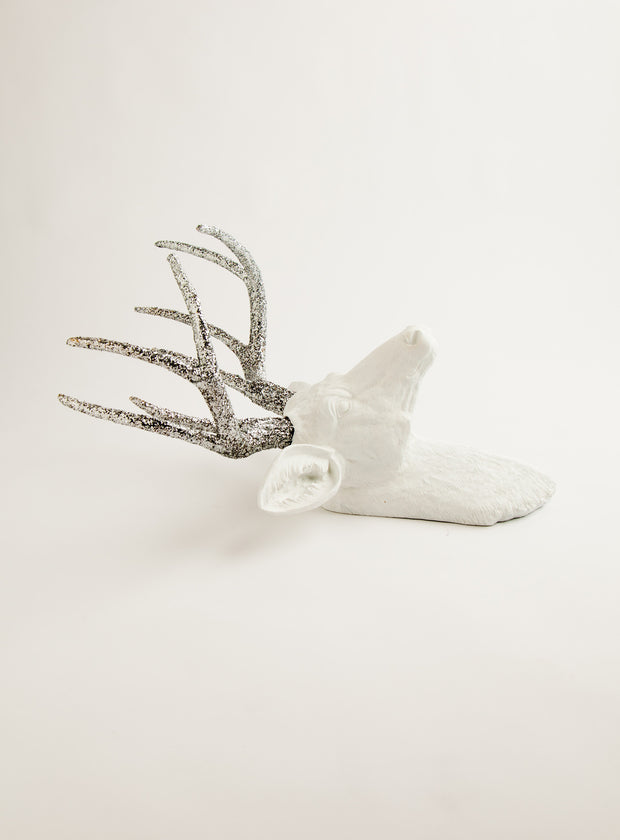The Weston | Stag Deer Head | Faux Taxidermy | White Resin w/Silver Glitter Antlers