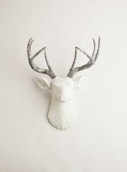 silver glitter deer head wall mount, The Weston