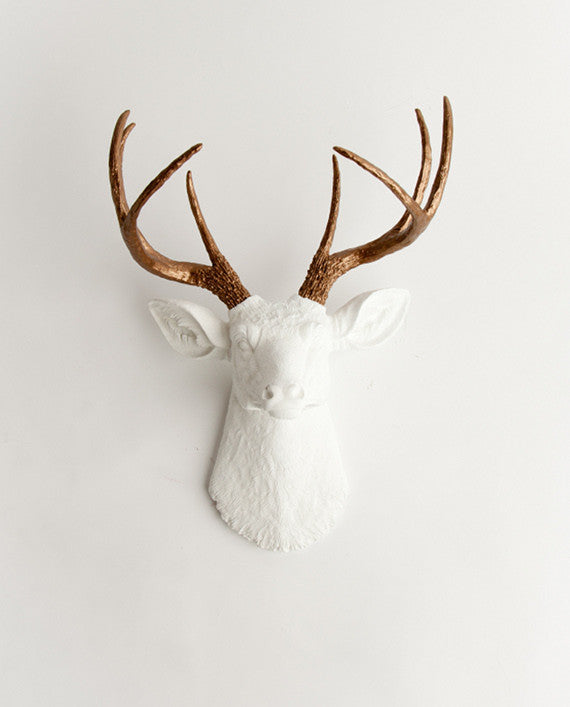 Stag Head in White & Bronze Wall Decor, The Lydia. metallic bronze faux deer antlers, white faux deer head wall mount