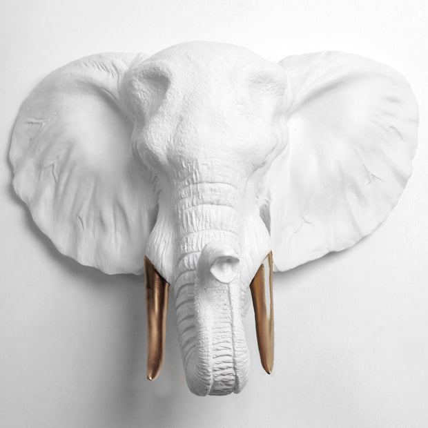 The Tolsby in White and Bronze | Elephant Head Wall Mount Faux Taxidermy | Boho Decor