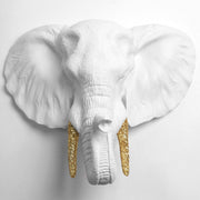 White Elephant Head With Gold Glitter Tusks