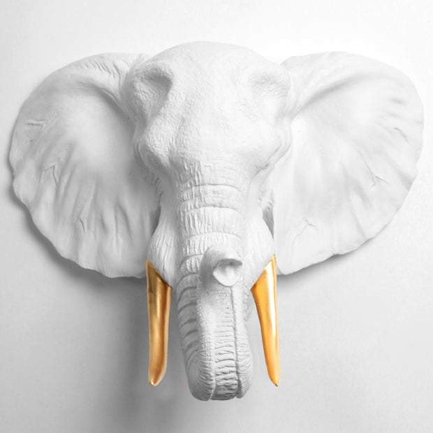 The Tolsby in White and Gold | Elephant Head Wall Mount Faux Taxidermy | Boho Decor