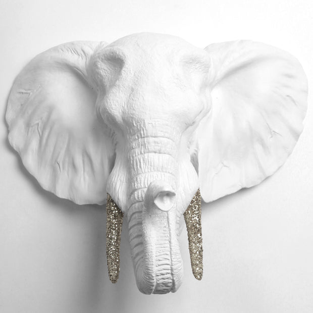 White Faux Elephant wall Mount with Silver Glitter Antlers