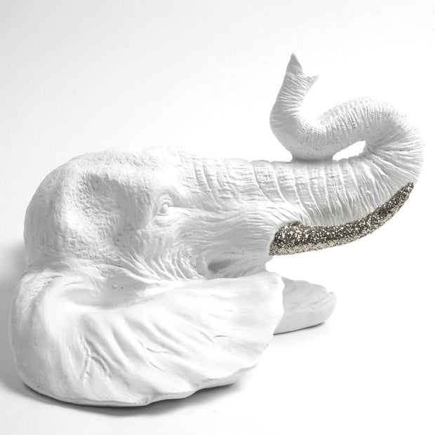 The Madeleine | White Elephant Head w/Silver Glitter Tusks Faux Taxidermy | Boho Decor