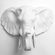The Tolsby in White and Silver | Elephant Head Wall Mount Faux Taxidermy | Boho Decor