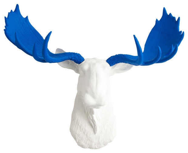 white resin fake moose decoration wall mount with blue antlers by White Faux Taxidermy