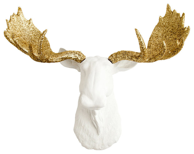 white resin fake moose decoration wall mount with gold-glitter antlers by White Faux Taxidermy