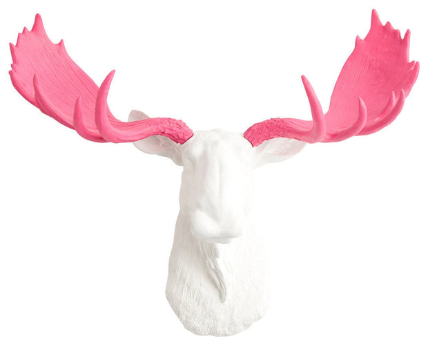White Moose Head Wall Hanging with Pink Resin Antlers