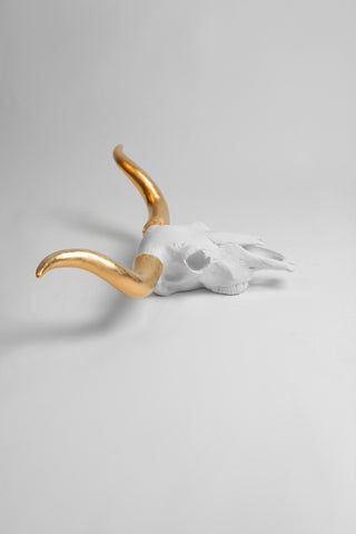 The Savannah | Faux Longhorn Cow Skull Decor | White Head W/ Gold Horns