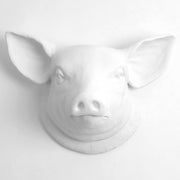 white resin pig head kitchen decor, farmhouse style wall art
