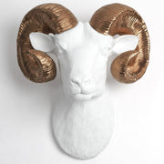 The Darby in White & Bronze - XL Ram Head | Bighorn Sheep Modern Farmhouse Decor