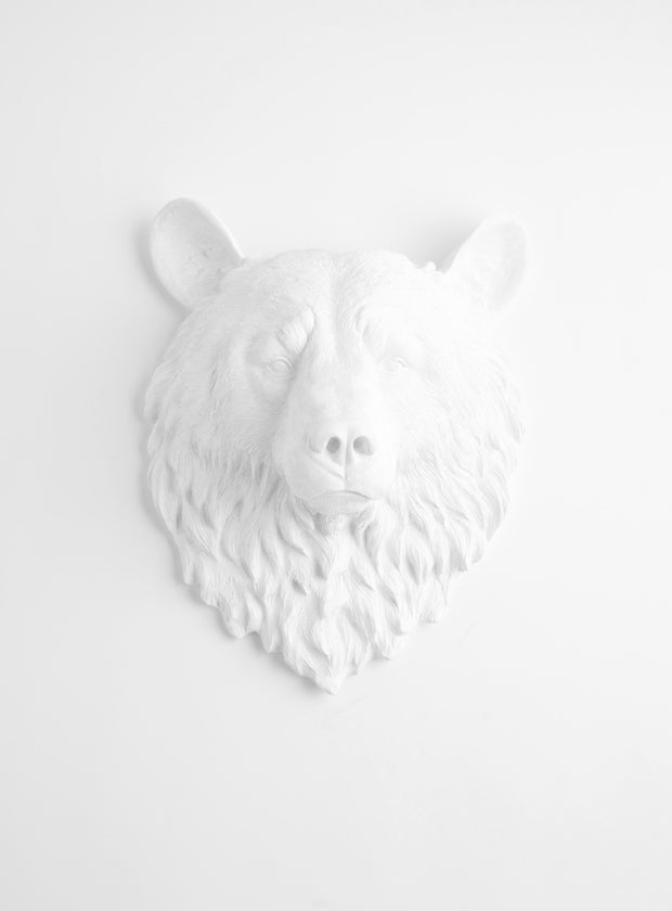 The Raleigh | Bear Head | Faux Taxidermy | White Resin