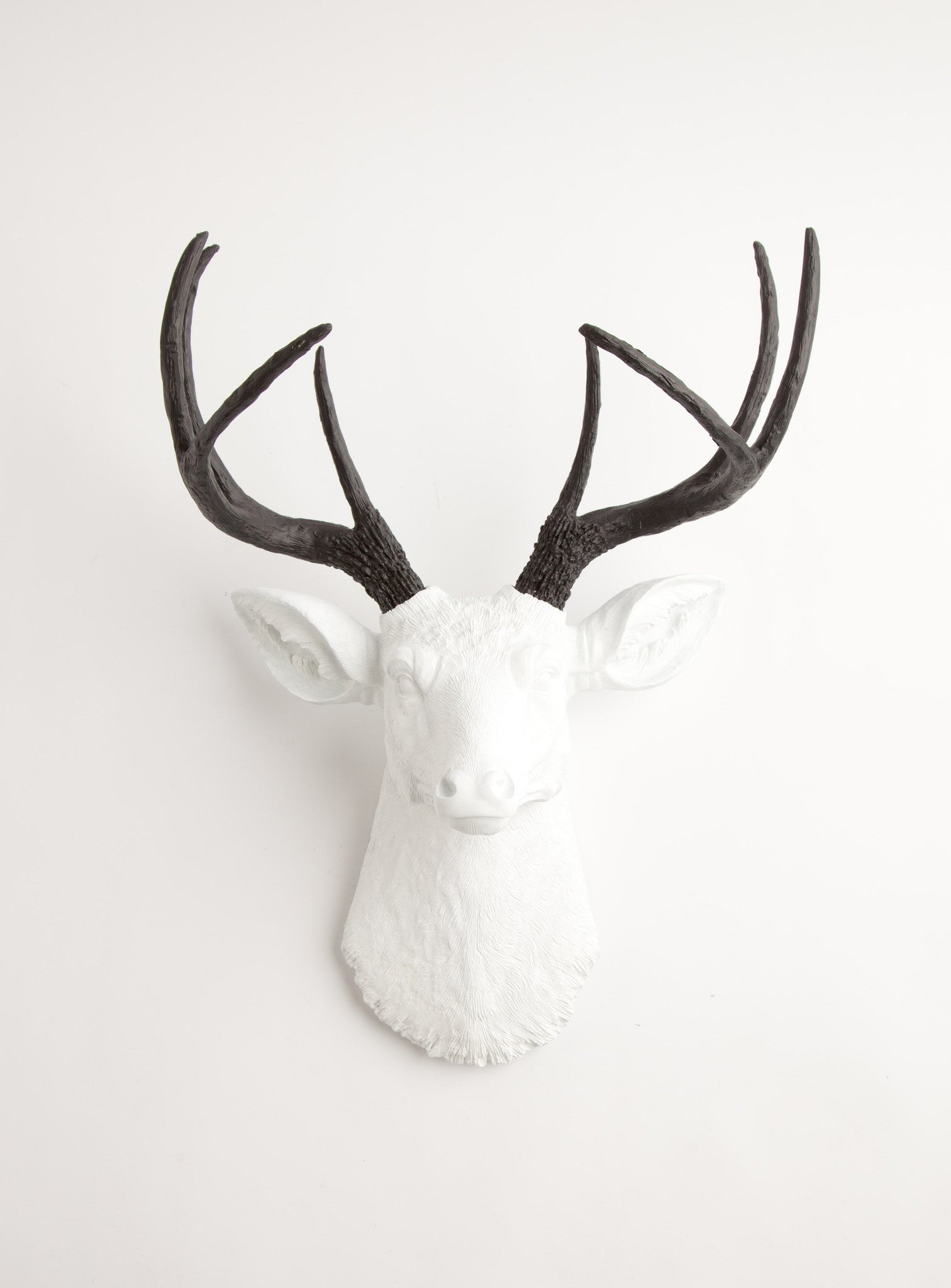 White faux deer head w black antlers the maud faux taxidermy black white deer head wall decor amipublicfo Choice Image