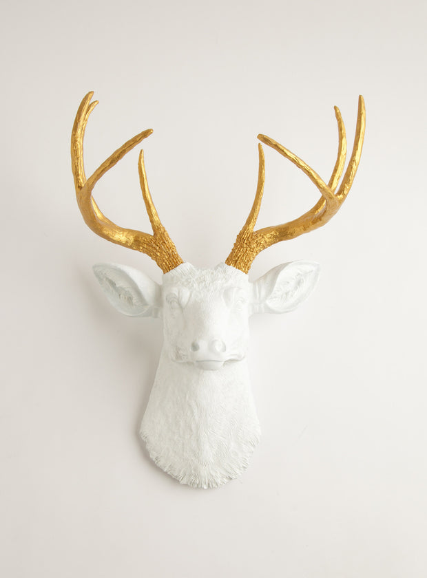 Deer head in White & Gold Wall Decor, The Alfred. metallic gold faux deer antlers, white resin deer head wall sculpture