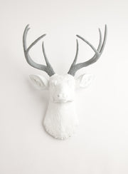 white & gray wall decor deer, The Helena. gray faux deer antlers, white faux buck head wall mount