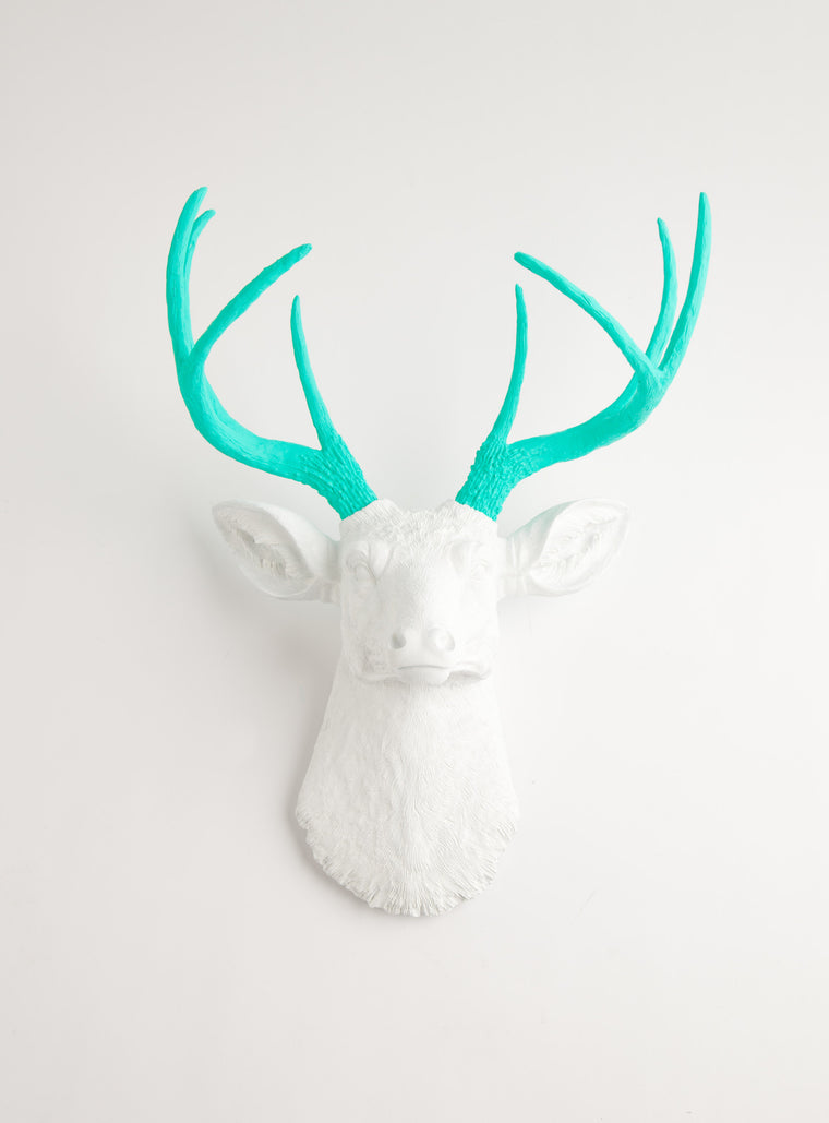 The Oleg | Stag Deer Head | Faux Taxidermy | White w/ Turquoise Antlers