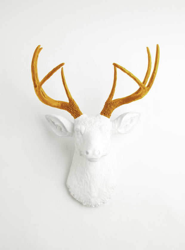 Mustard-Yellow antlers & white deer, The Blanche. mustard-yellow resin deer antlers, white faux deer head wall sculpture