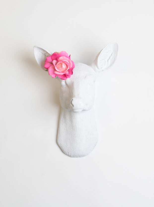 White Faux Female Deer Head Wall Mount, Flower not included