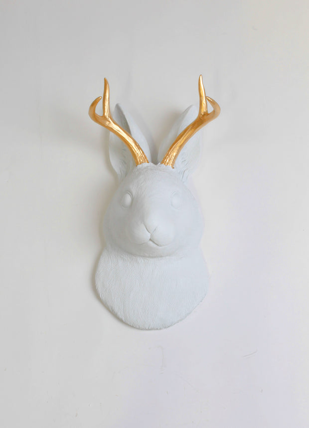 The Corduroy in White /wGold Antlers  | Jackalope Head | Faux Taxidermy | White w/ Gold Antlers