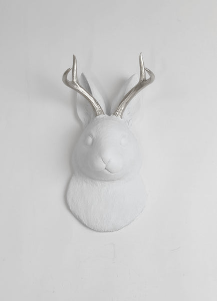 The Corduroy in White /w Silver Antlers  | Jackalope Head | Faux Taxidermy | White w/ Silver Antlers