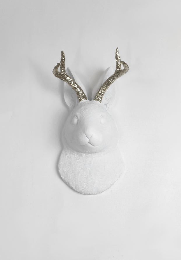 White Faux Taxidermy - The Corduroy in White w/Silver Glitter Antlers - Jackrabbit Head- Jackalope Bunny -Animal Friendly Wall Mount Decor