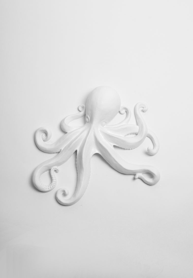 The Kraken in White | Large Faux Octopus | White Resin