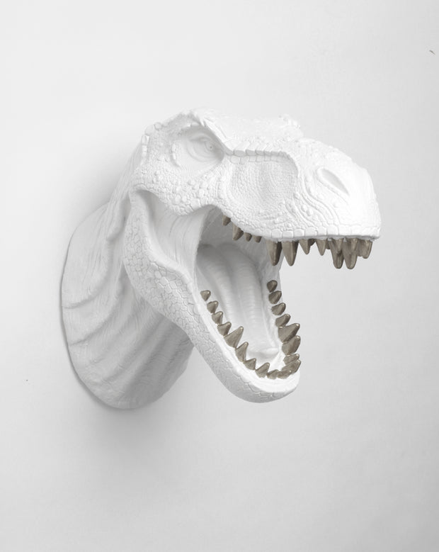 Dinosaur Head Wall Hanging with Silver Teeth, by White Faux Taxidermy