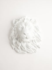 White Faux Taxidermy Lion Head Wall Mount, The Walter