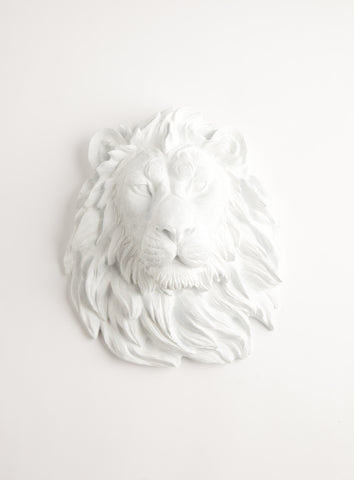 The Walter | Lion Head | Faux Taxidermy | White Resin