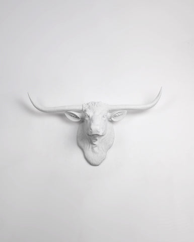 The Remington in White | Texas Longhorn Wall Mount | Faux Cow Head