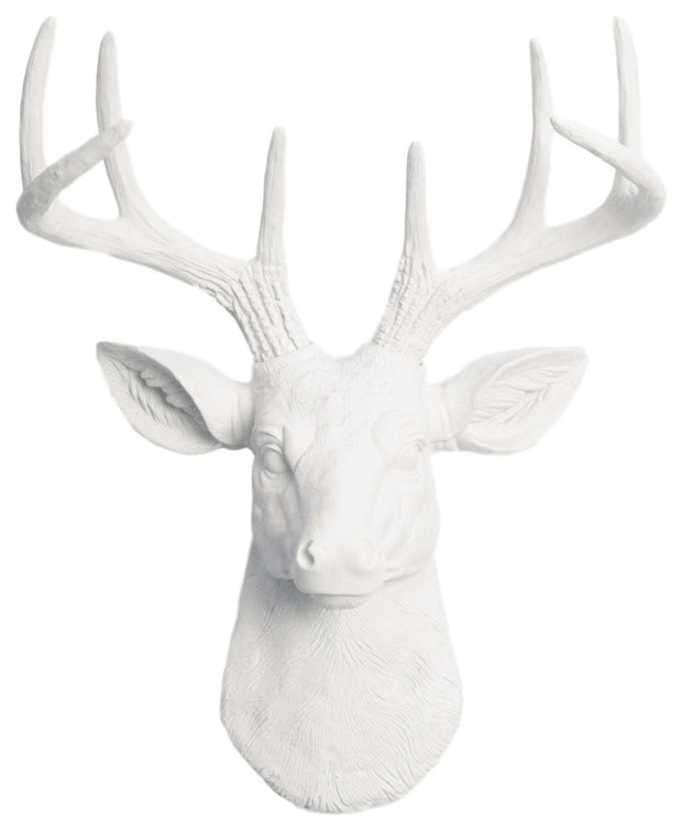 white fake taxidermy deer head ceramic-like resin mini mounted deer head sculpture wall decor