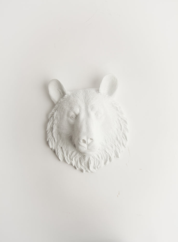 The Brunskie | Mini Bear Head | Faux Taxidermy | White Resin