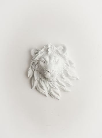 The Ramiros | Mini Lion Head | Faux Taxidermy | White Resin