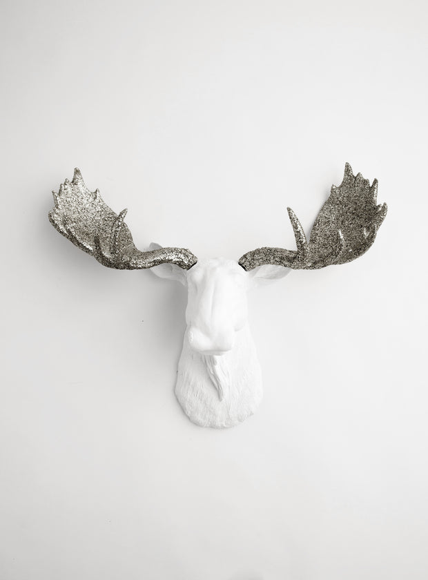 "White & Silver Glitter Moose Head Wall Mount, 18.5"" tall The Theodora"